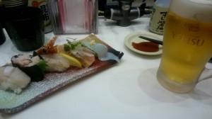 廻る寿司とビール